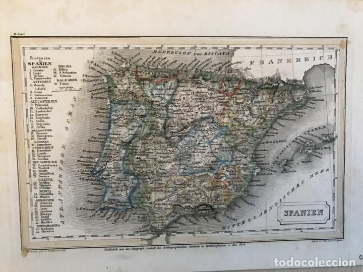 Arte: Pequeño mapa de España y Portugal, hacia 1860. Instituto Hildburghausen - Foto 3 - 233717445