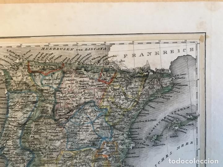 Arte: Pequeño mapa de España y Portugal, hacia 1860. Instituto Hildburghausen - Foto 5 - 233717445