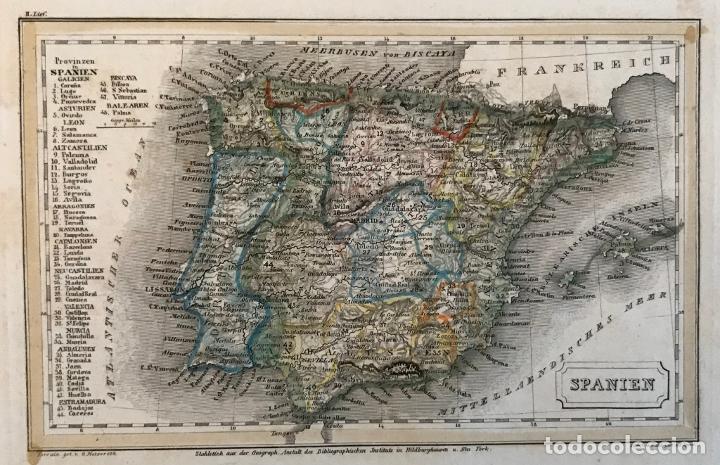 PEQUEÑO MAPA DE ESPAÑA Y PORTUGAL, HACIA 1860. INSTITUTO HILDBURGHAUSEN (Arte - Cartografía Antigua (hasta S. XIX))