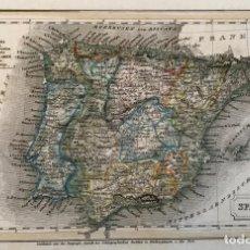 Arte: PEQUEÑO MAPA DE ESPAÑA Y PORTUGAL, HACIA 1860. INSTITUTO HILDBURGHAUSEN. Lote 233717445