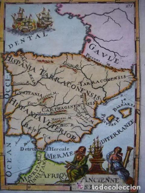 MAPA ESPAÑA, ORIGINAL, MALLET, SIGLO XVII (Arte - Cartografía Antigua (hasta S. XIX))