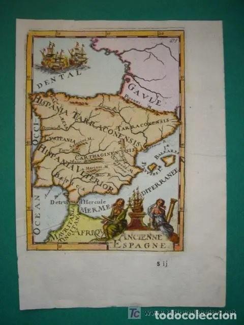 Arte: Mapa España, ORIGINAL, MALLET, siglo XVII - Foto 2 - 233759545