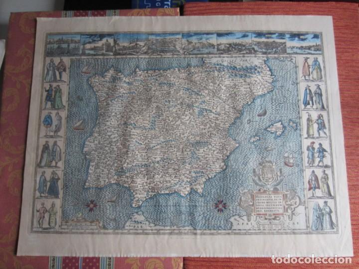 1579-MAPA ORLADO ESPAÑA.VISTAS BARCELONA BILBAO SEVILLA MALAGA MADRID TOLEDO CÁDIZ.TRAJES REGIONES (Arte - Cartografía Antigua (hasta S. XIX))