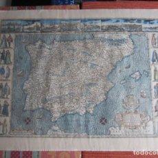 Arte: 1579-MAPA ORLADO ESPAÑA.VISTAS BARCELONA BILBAO SEVILLA MALAGA MADRID TOLEDO CÁDIZ.TRAJES REGIONES. Lote 233907835