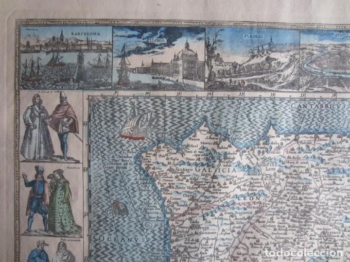 Arte: 1579-MAPA ORLADO ESPAÑA.VISTAS BARCELONA BILBAO SEVILLA MALAGA MADRID TOLEDO CÁDIZ.TRAJES REGIONES - Foto 2 - 233907835