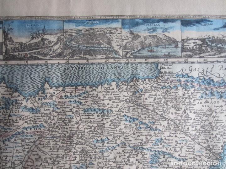 Arte: 1579-MAPA ORLADO ESPAÑA.VISTAS BARCELONA BILBAO SEVILLA MALAGA MADRID TOLEDO CÁDIZ.TRAJES REGIONES - Foto 3 - 233907835