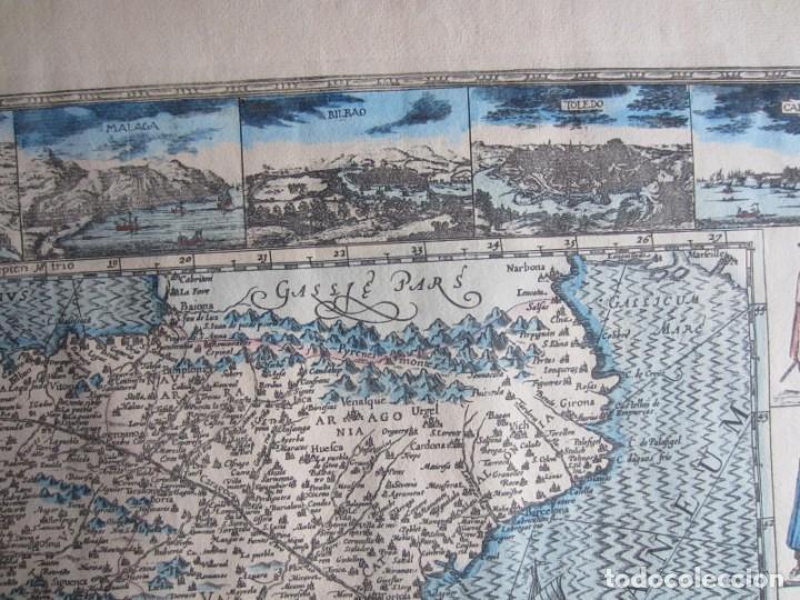 Arte: 1579-MAPA ORLADO ESPAÑA.VISTAS BARCELONA BILBAO SEVILLA MALAGA MADRID TOLEDO CÁDIZ.TRAJES REGIONES - Foto 4 - 233907835