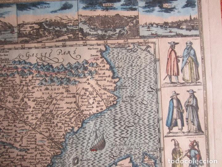 Arte: 1579-MAPA ORLADO ESPAÑA.VISTAS BARCELONA BILBAO SEVILLA MALAGA MADRID TOLEDO CÁDIZ.TRAJES REGIONES - Foto 5 - 233907835