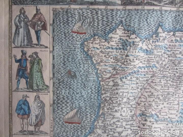 Arte: 1579-MAPA ORLADO ESPAÑA.VISTAS BARCELONA BILBAO SEVILLA MALAGA MADRID TOLEDO CÁDIZ.TRAJES REGIONES - Foto 10 - 233907835