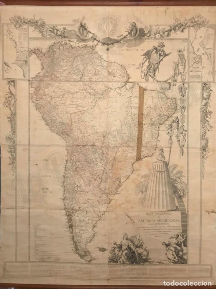 MAPA GEOGRÁFICO AMÉRICA MERIDIONAL SUR(1771) JUAN CRUZ CANO Y OLMEDILLA. PERÚ CHILE BRASIL 227X180CM (Arte - Cartografía Antigua (hasta S. XIX))