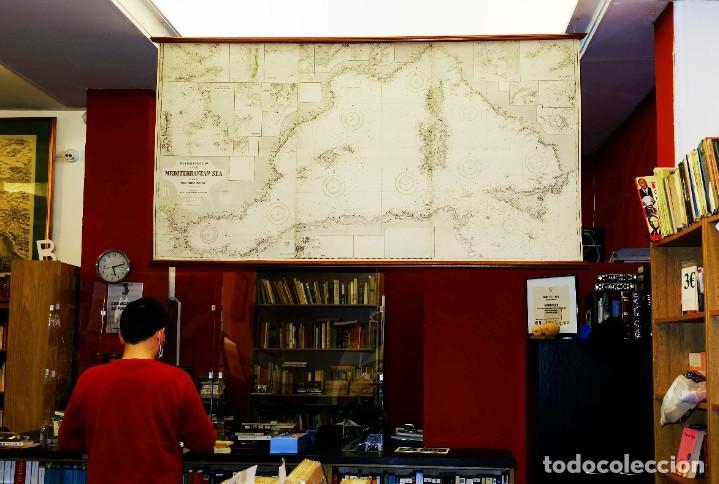 1880/1940/1956 MEDITERRÁNEO OCCIDENTAL GRAN CARTA NÁUTICA DE 2,15 METROS CON VARILLAS DE EXPOSICIÓN (Arte - Cartografía Antigua (hasta S. XIX))
