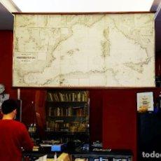 Arte: 1880/1940/1956 MEDITERRÁNEO OCCIDENTAL GRAN CARTA NÁUTICA DE 2,15 METROS CON VARILLAS DE EXPOSICIÓN. Lote 239653430