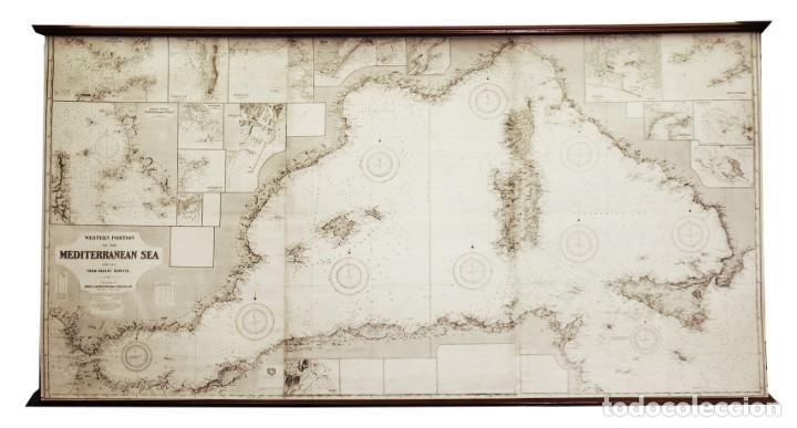 Arte: 1880/1940/1956 Mediterráneo occidental Gran Carta náutica de 2,15 metros con varillas de exposición - Foto 2 - 239653430