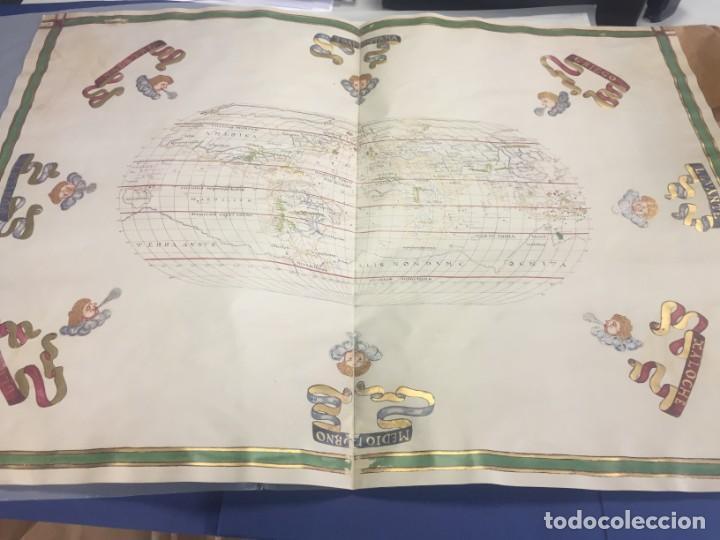 Arte: Mapamundi siglo XVI, en pergamino y dorado, facsímil - Foto 2 - 240259450
