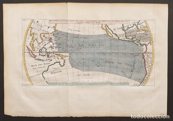 1760 - MAPA ORIGINAL PACÍFICO, AUSTRALIA, CALIFORNIA, FILIPINAS, CHINA... A.F.PREVOST/N.BELLIN (Arte - Cartografía Antigua (hasta S. XIX))