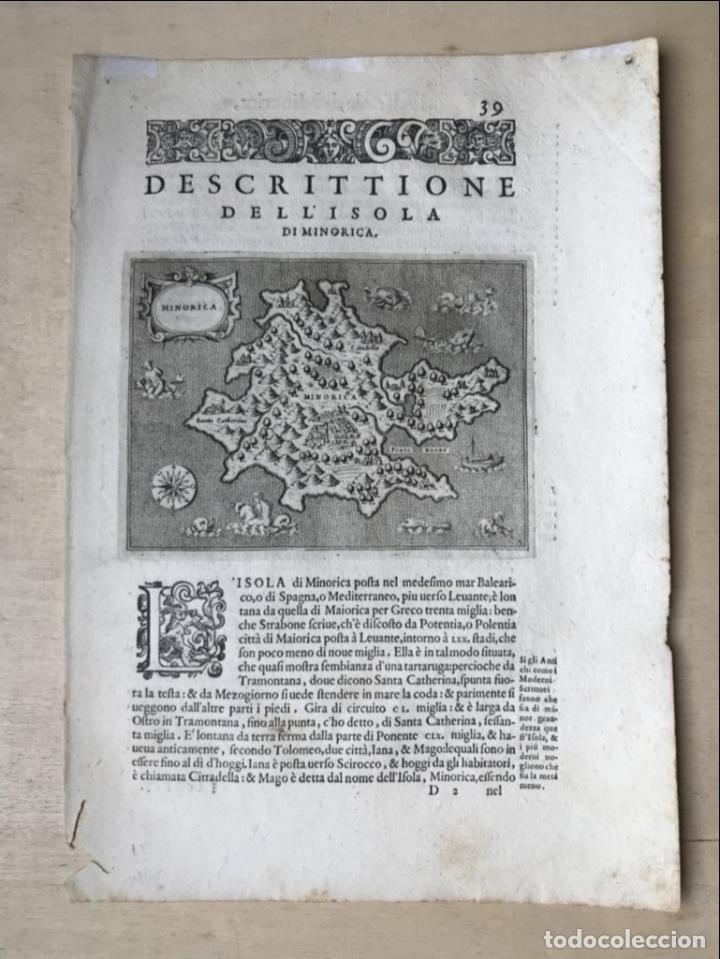 Arte: Mapa de la isla de Menorca (Baleares, España), 1590. Tommaso Porcacchi - Foto 2 - 242048815