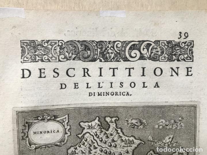 Arte: Mapa de la isla de Menorca (Baleares, España), 1590. Tommaso Porcacchi - Foto 4 - 242048815