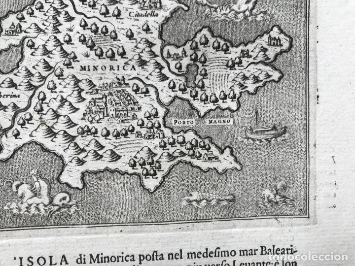 Arte: Mapa de la isla de Menorca (Baleares, España), 1590. Tommaso Porcacchi - Foto 8 - 242048815