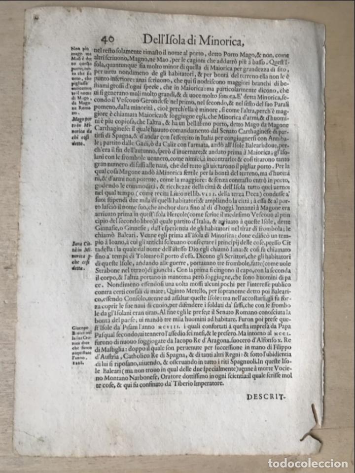 Arte: Mapa de la isla de Menorca (Baleares, España), 1590. Tommaso Porcacchi - Foto 10 - 242048815