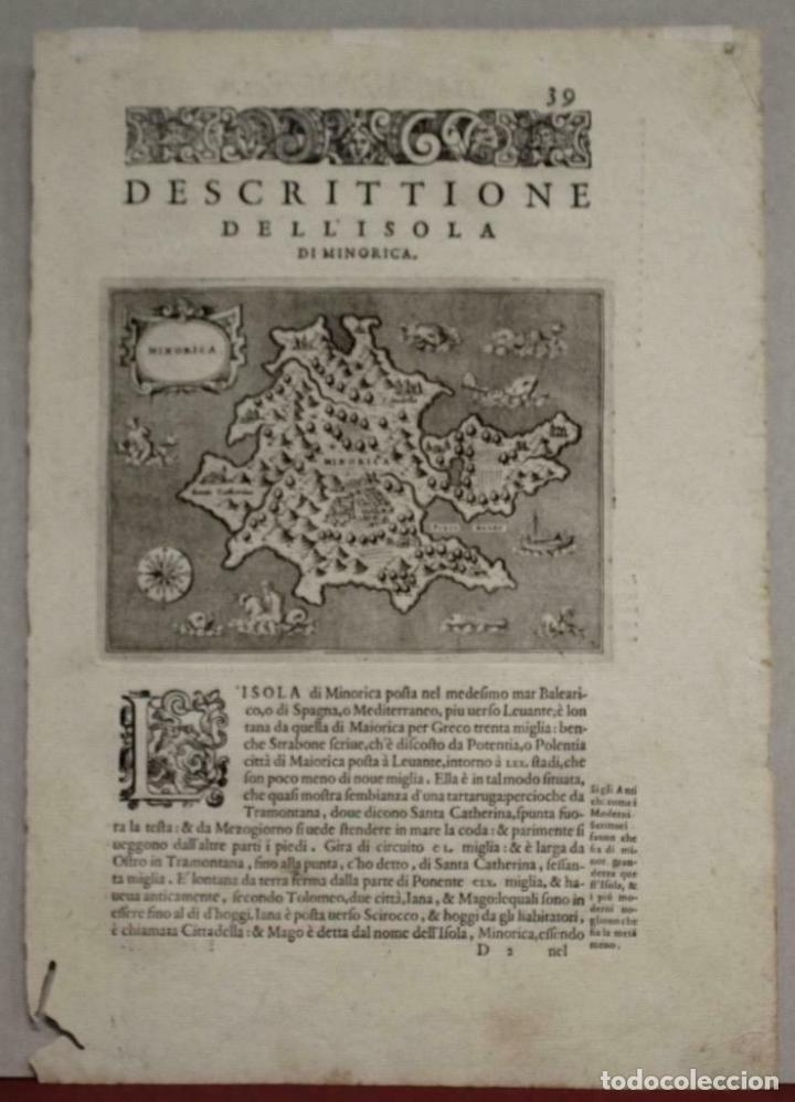 MAPA DE LA ISLA DE MENORCA (BALEARES, ESPAÑA), 1590. TOMMASO PORCACCHI (Arte - Cartografía Antigua (hasta S. XIX))