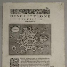 Arte: MAPA DE LA ISLA DE MENORCA (BALEARES, ESPAÑA), 1590. TOMMASO PORCACCHI. Lote 242048815