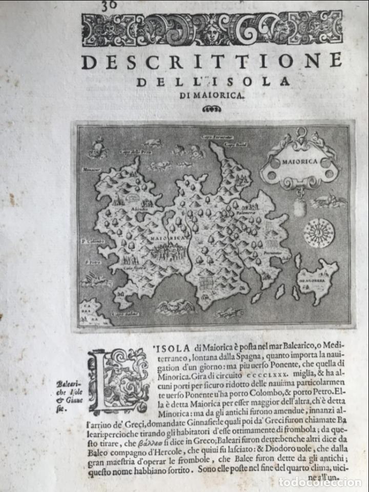 Arte: Mapa de la isla de Mallorca (Baleares, España), 1590. Tommaso Porcacchi - Foto 3 - 242062360