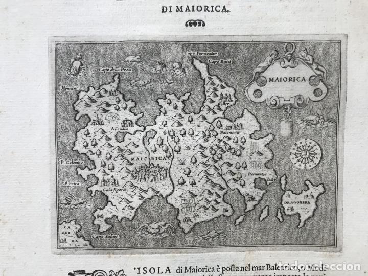 Arte: Mapa de la isla de Mallorca (Baleares, España), 1590. Tommaso Porcacchi - Foto 4 - 242062360