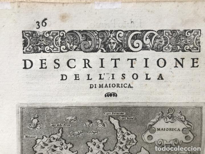 Arte: Mapa de la isla de Mallorca (Baleares, España), 1590. Tommaso Porcacchi - Foto 5 - 242062360
