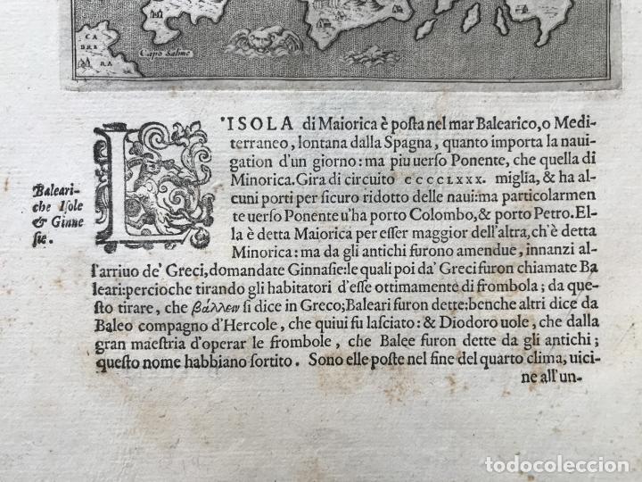 Arte: Mapa de la isla de Mallorca (Baleares, España), 1590. Tommaso Porcacchi - Foto 6 - 242062360