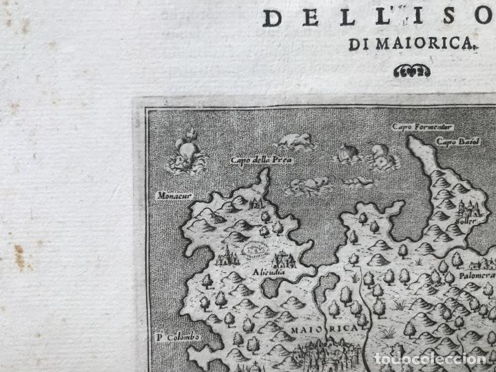 Arte: Mapa de la isla de Mallorca (Baleares, España), 1590. Tommaso Porcacchi - Foto 7 - 242062360