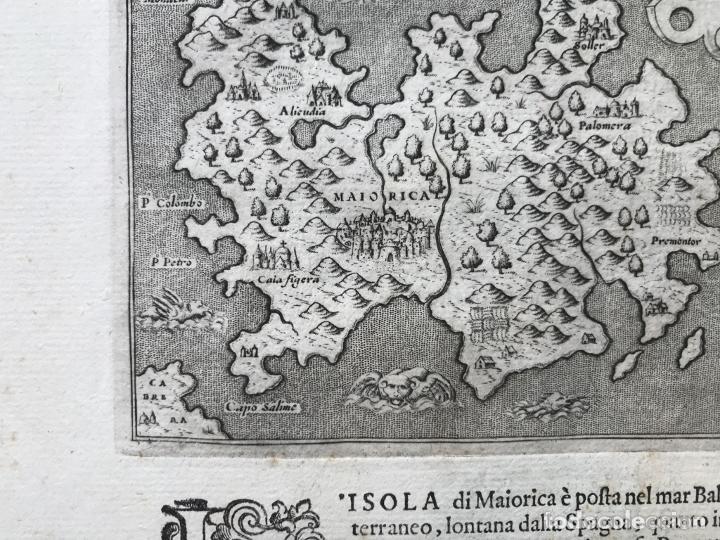 Arte: Mapa de la isla de Mallorca (Baleares, España), 1590. Tommaso Porcacchi - Foto 10 - 242062360