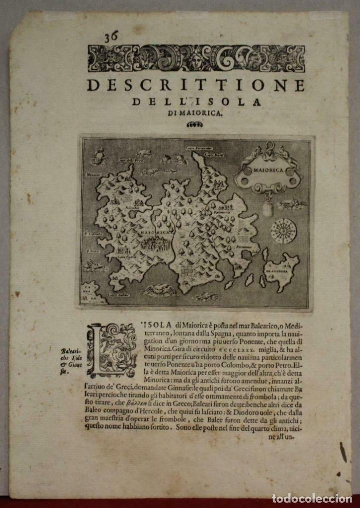 MAPA DE LA ISLA DE MALLORCA (BALEARES, ESPAÑA), 1590. TOMMASO PORCACCHI (Arte - Cartografía Antigua (hasta S. XIX))