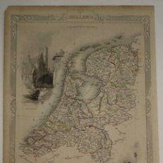 Arte: MAPA ILUSTRADO DE LOS PAÍSES BAJOS (EUROPA), 1851. TALLIS/RAPKIN. Lote 242071010