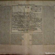 Arte: MAPA ANTIGUO SIGLO XVI VASSY SOUS PISY BORGOÑA FRANCIA 1576 BELLEFOREST MÜNSTER. Lote 242841790
