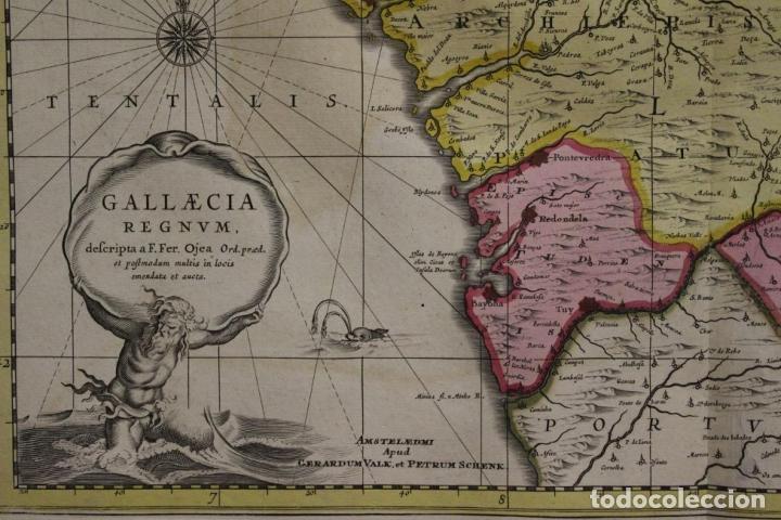 Arte: Gran mapa a color del antiguo reino de Galicia (España), 1690. F. Ojea/Valk y Schenk - Foto 2 - 242866350