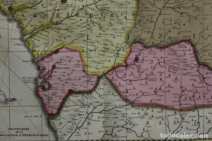 Arte: Gran mapa a color del antiguo reino de Galicia (España), 1690. F. Ojea/Valk y Schenk - Foto 3 - 242866350