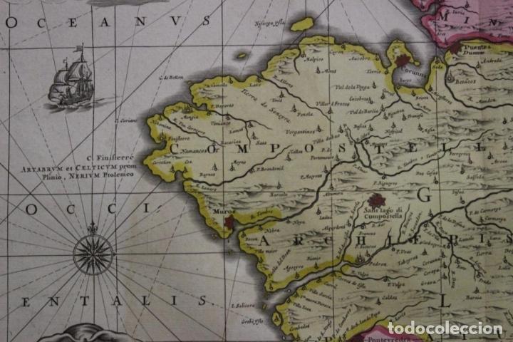 Arte: Gran mapa a color del antiguo reino de Galicia (España), 1690. F. Ojea/Valk y Schenk - Foto 5 - 242866350