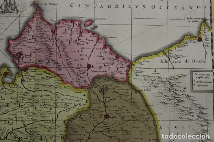 Arte: Gran mapa a color del antiguo reino de Galicia (España), 1690. F. Ojea/Valk y Schenk - Foto 7 - 242866350