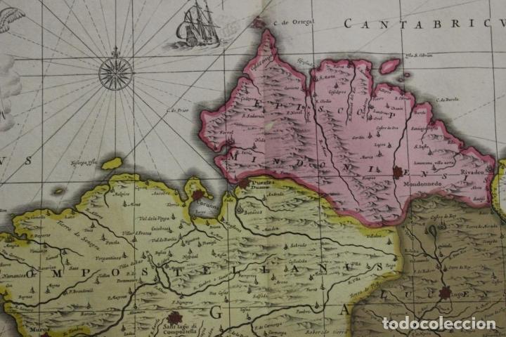 Arte: Gran mapa a color del antiguo reino de Galicia (España), 1690. F. Ojea/Valk y Schenk - Foto 8 - 242866350