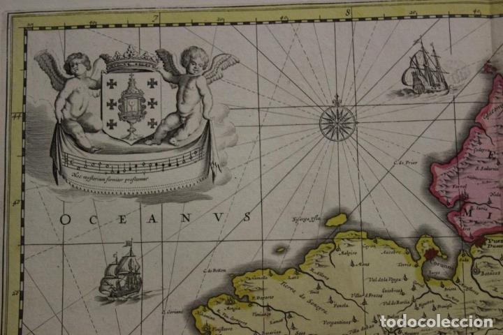 Arte: Gran mapa a color del antiguo reino de Galicia (España), 1690. F. Ojea/Valk y Schenk - Foto 9 - 242866350