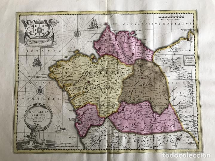 Arte: Gran mapa a color del antiguo reino de Galicia (España), 1690. F. Ojea/Valk y Schenk - Foto 11 - 242866350