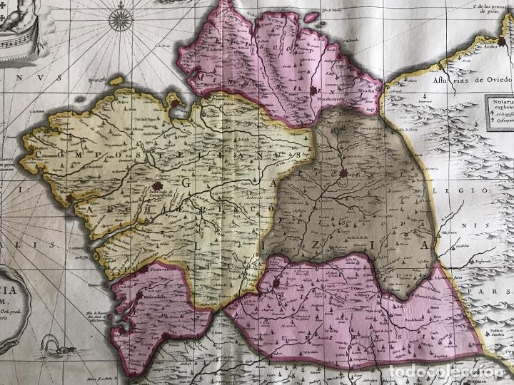Arte: Gran mapa a color del antiguo reino de Galicia (España), 1690. F. Ojea/Valk y Schenk - Foto 12 - 242866350