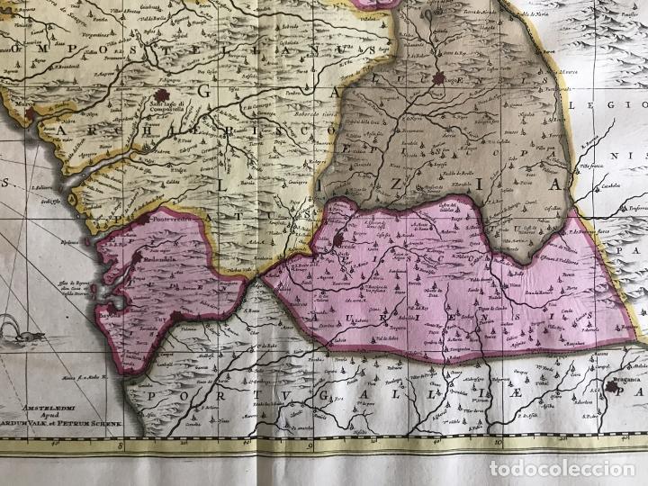 Arte: Gran mapa a color del antiguo reino de Galicia (España), 1690. F. Ojea/Valk y Schenk - Foto 18 - 242866350