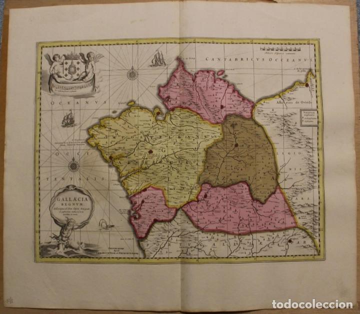GRAN MAPA A COLOR DEL ANTIGUO REINO DE GALICIA (ESPAÑA), 1690. F. OJEA/VALK Y SCHENK (Arte - Cartografía Antigua (hasta S. XIX))