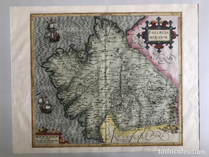Arte: Gran mapa a color del antiguo reino de Galicia (España), hacia 1630. Mercator/Hondius - Foto 2 - 242871565
