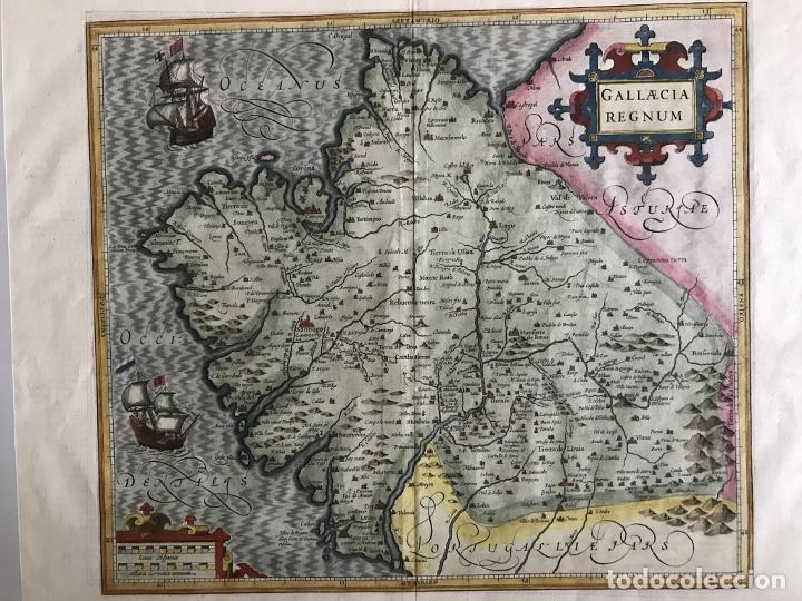 Arte: Gran mapa a color del antiguo reino de Galicia (España), hacia 1630. Mercator/Hondius - Foto 3 - 242871565