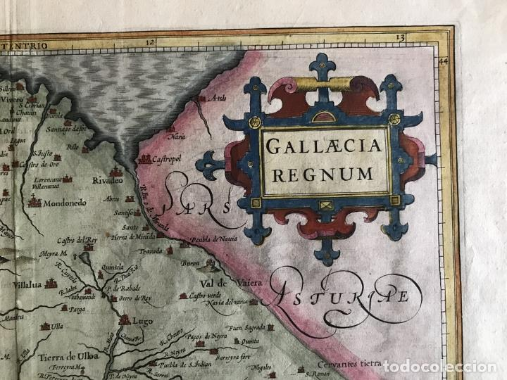 Arte: Gran mapa a color del antiguo reino de Galicia (España), hacia 1630. Mercator/Hondius - Foto 6 - 242871565