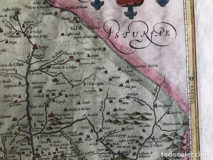 Arte: Gran mapa a color del antiguo reino de Galicia (España), hacia 1630. Mercator/Hondius - Foto 7 - 242871565
