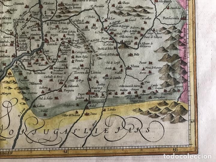 Arte: Gran mapa a color del antiguo reino de Galicia (España), hacia 1630. Mercator/Hondius - Foto 8 - 242871565