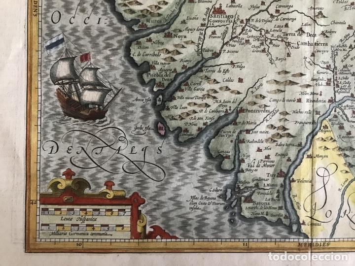 Arte: Gran mapa a color del antiguo reino de Galicia (España), hacia 1630. Mercator/Hondius - Foto 10 - 242871565